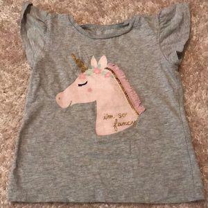 Gray shirt with pink unicorn